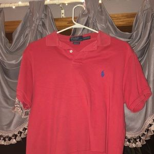 Pink polo Ralph Lauren cropped tee